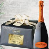 Confezione Auguri: Panettone Premium Carta e Fiocco Classico - Bellavista Alma Cuvée Brut Franciacorta