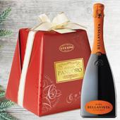 CONFEZIONE DI AUGURI: Pandoro Premium Carta e Fiocco 1Kg. - Bellavista Alma Cuv�e Brut Franciacorta 1 Bt.