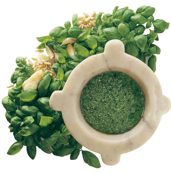 Pexto :  Produciamo direttamente con il rinomato Basilico Genovese D.O.P.