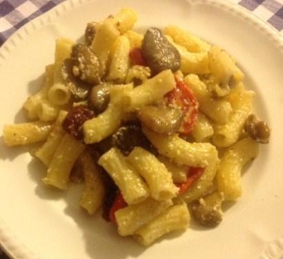 Receta enviada por Marcos: Primer plato Rigatoni con frijoles y tomates secos