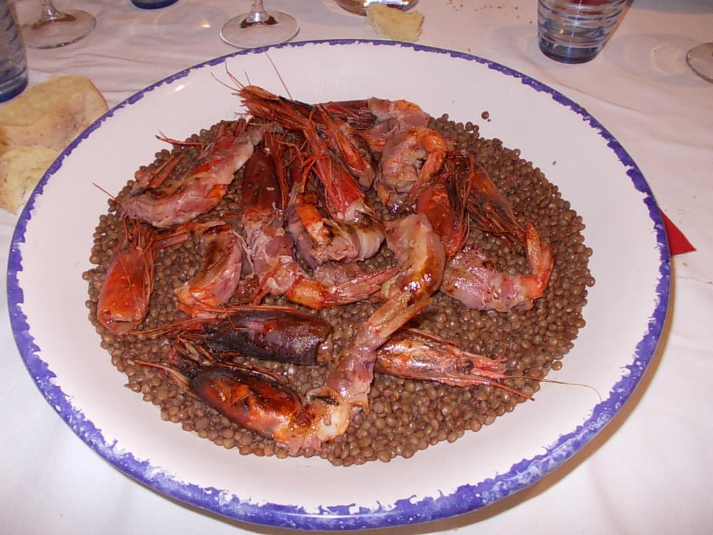 Gamberi Rossi di Mazara del Vallo Con Pancetta e Lenticchie