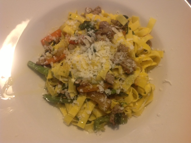 Egg Tagliatelle with Salamini and vegetables