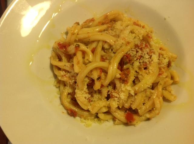 Caserecce mit Tomatencapuliato und 'Nduja