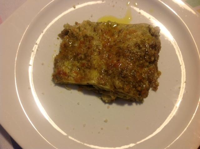 Lasagne mit Pesto, Mandeln und sizilianischem Primosale
