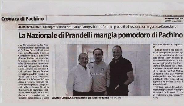 CAMPISI - La nazionale di Prandelli mangia pomodoro di Pachino