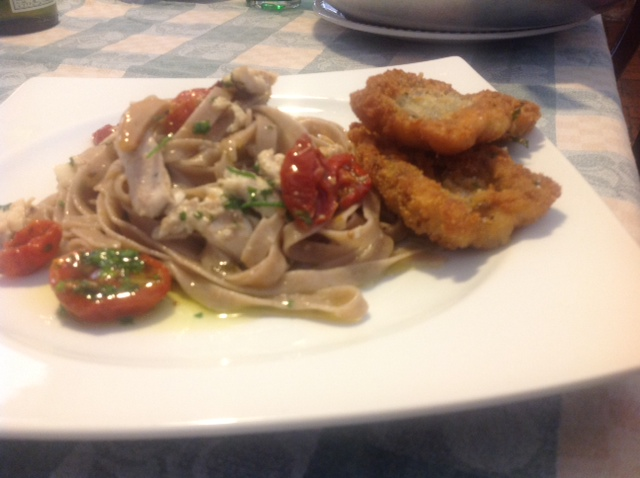 Tagliatelle di Tumminìa Fastuchera Azienda Agricola son sugo di pesce Spatola e Pomodorini Solosole