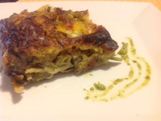Lasañas con Pesto a la genovesa Fagiolini, papas y muzzarrella de Bufala Caseificio Esposito