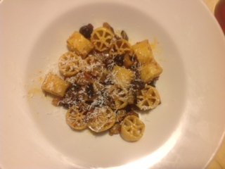 A recipe by Gianluca: Ruote Pazze with aubergine and black pork 'Nduja