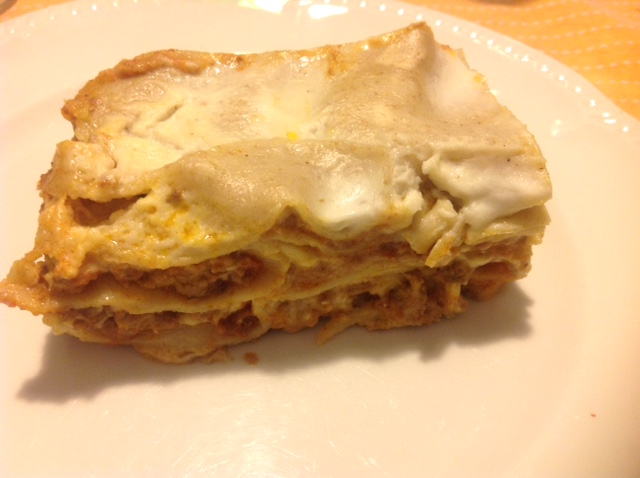 Handmade lasagna made from Tumminia wheat flour