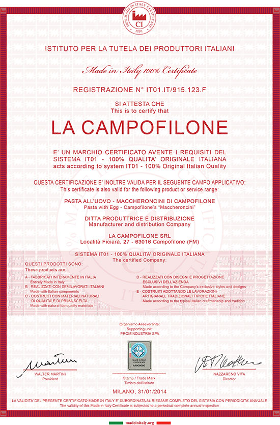 LA CAMPOFILONE erhält die 100% MADE IN ITALY Zertifizierung