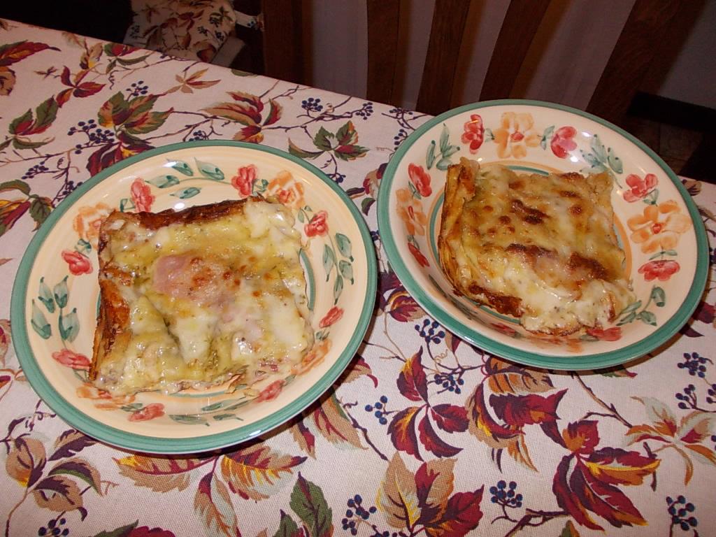 Pesto Lasagne mit Speck und Fontina