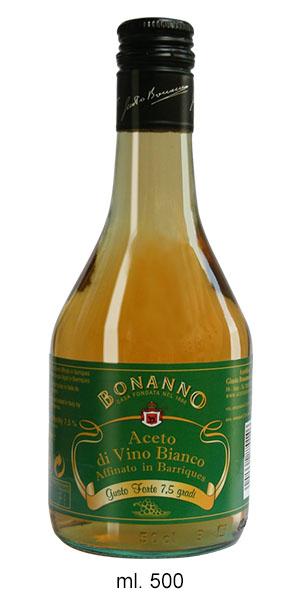 ACETO DI VINO BIANCO 7,5% AFFINATO 2 ANNI IN BARRIQUE - Bonanno